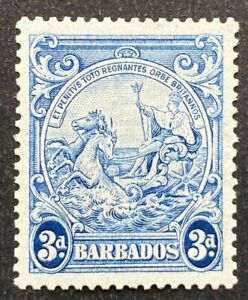 Barbados KGVI 1938-47 SG252ca 3d Blue Line Over Horse's Head Flaw Mint Cat £130