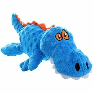 Dog Gators with Chew Guard Technology Plush Squeaker Dog Toy Blue