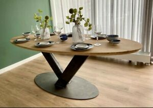 Handmade Solid Oak Oval Dining Table, Chunky Oak Kitchen Table 220x100x75 cm