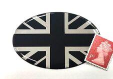 Union Jack Flag Sticker Super Shiny Domed Finish Black & Chrome 70mm x 46mm Oval