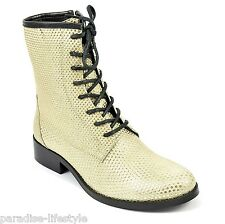 Women Ladies New Chelsea Boots Handmade Lace-up Zip Shoes Hi Top Style Girl Size