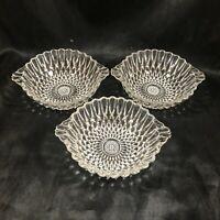 Set of 3 Vintage Clear Glass Teardrop Tab Handle Dessert Berry Bowls
