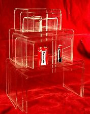 9 x Clear Acrylic Perspex Retail Display Stands Plinths
