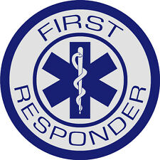 "First Responder Decal, EMS Decal, Star of Life, Reflective 3.75"" Blue  #EM53"