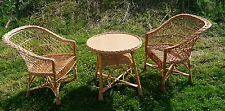 WICKER BASKET GARDEN CONSERVATORY SET INCLUDES COFFE TABLE & 2 CHAIRS ok NATURAL
