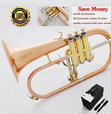 Professional Rose Brass Flugelhorn New Engraving Bell Bb Flugel horn With Case