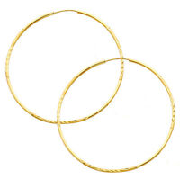 14K Yellow Gold 1.5mm Thick Diamond Cut Satin Polished Endless Hoop Earrings