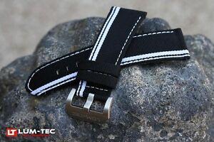 LUM-TEC Genuine OE 271 White Out, black nylon and leather composite strap