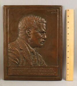 Antique 1920 James Earle Fraser THEODORE ROOSEVELT Bronzed Cast Iron Plaque NR!