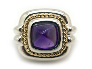 Tiffany & Co Sterling 18k Yellow Gold 2ct Cabochon Amethyst Sugarloaf Ring Sz 5
