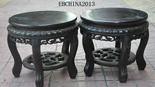 """12""""china Antique Furniture rosewood wood chair bench Stool Racks Cone frame pair"""