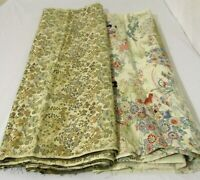 VINTAGE JAPANESE SILK? PRINT BROCADE FABRIC 1940s FLORAL TANS BLUES PINKS 4+ YDS