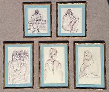 Lot of 5 Original Expressionist Modern Drawings Framed Signed Kelly