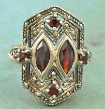 Vintage Sterling Silver GARNET Marcasite Statement Ring Size 5.75
