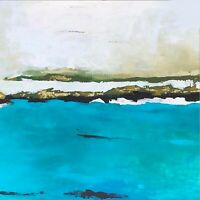 Large Abstract Ocean Acrylic Art Painting Home Decor 48x48 Artwork CA Beach