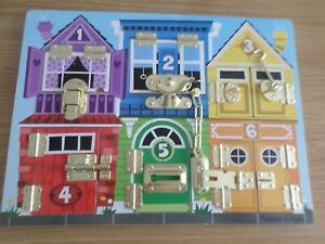 MELISSA & DOUG  LOCK & LATCHES WOODEN BOARD - EDUCATIONAL   FREE UK POST