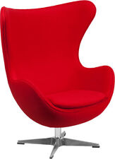 1 each New Red Wool Fabric Egg Chair with Tilt-Lock Mechanism Free Shipping