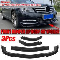 3PCs Matte Front Bumper Lip Spoiler Splitter For Mercedes W204 C-Class 2008-2014