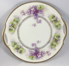 Two Handled Cake Plate Purple Green Hand Painted Plate Antique Crown M Bavaria