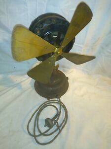 "Rare Original Antique GE General Electric Pancake 12"" Fan Cast Iron & Brass 1901"