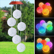 Wind Chimes Solar Powered LED Light Colour Changing Hanging Outdoor Garden Decor