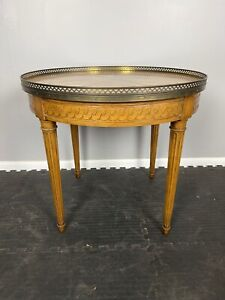 """vintage Baker Furniture Neoclassic Round Side Table Brass Rail 26"""" x 23"""""""