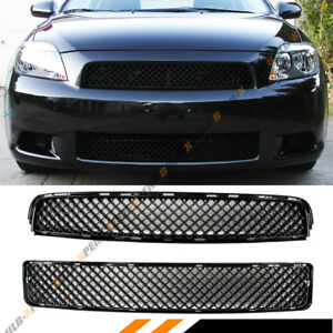 FOR 2005-10 SCION TC PAINTED BLK BADGELESS FRONT UPPER + LOWER ABS MESH GRILL