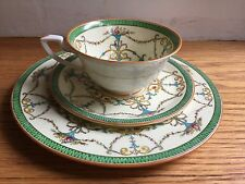 Royal Worcester Green Bessborough -Cup and Saucer and Salad/Dessert Plate Trio