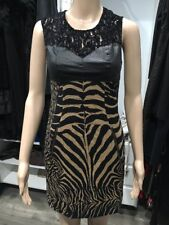 $398 Tracy Reese Size 2 Zebra/Ocelet Stretch Jacquard Combo Shift Leather Dress
