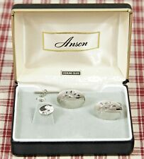 NEW Anson STERLING SILVER CUFFLINKS & TIE TACK Set, Leaves on Vines, Engraveable