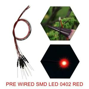40pcs Pre-wired SMD 0402 LED Red Pre-soldered 0402 Red micro litz wired LEDs