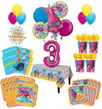 Trolls Poppy 3rd Birthday Party Supplies 16 Guest Kit and Balloon Bouquet