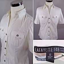 LAFAYETTE 148 New York Womens White Metal Button Down Roll Tab Shirt Sz 12