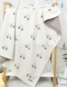 Baby blanket Beige Car Print Cot Pram Buggy blanket 100cm soft blanket