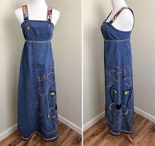 Denim Pinafore Maxi Dress Jean Jumper Overalls Embroidered Lion Hippie Grunge S