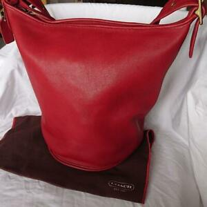 COACH Vintage Duffle Feed Sac Leather Shoulder Bucket Bag Red H7D 9085 USA