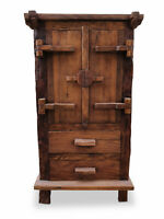 Schrank massiv Holz Kleiderschrank 140 cm Teakholz Massivholz Kommode Wohnzimmer