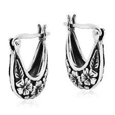 Silver Basket Hoop Earring Elegant Floral Design V-Lock Sterling