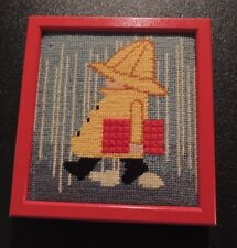 Needlepoint Completed Boy in Yellow Rain Slicker