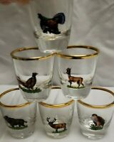 Set of 6 Vintage Shot Glasses. Wildlife Collection. Gold trim. Fowl, Elk, Boar