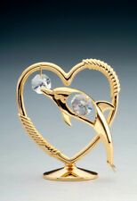 Swarovski Crystal Elements Studded Dolphin In Heart Figurine 24K Gold Plated