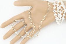"""Vtg Sterling Silver Leaf Vine Gemstone Station Necklace 16"""""""