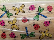 StampCraft Bug Background NEW Mounted Rubber Stamp Ladybug Butterfly Dragonfly