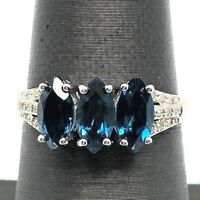 Sterling Silver 925 Three Stone Marquise Blue Topaz Diamond Pave Cocktail Ring 7