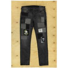32 True Religion Jeans Rocco Relaxed Skinny Mended Patchwork Black