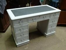 STUNNINGLY RESTORED BRAND NEW PALE GREY PAINTED 4x2 ANTIQUE STYLE PEDESTAL DESK