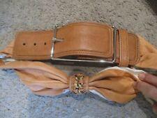 3.1 PHILLIP LIM light brown tan Soft leather gold chain fashion belt sz S