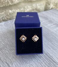 SWAROVSKI Hillock Square Rose Gold Stud Pierced Earrings 5351077 NEW
