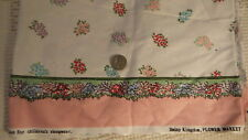 """Cotton Fabric PINK,TURQUOISE,RED,PURPLE FLORAL & BORDER Daisy Kingdom 1 Yd/44"""""""