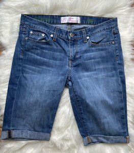 Unbranded Blue High Waisted Distressed Bermuda Jean shorts 9/10 FASHION HAVEN